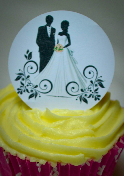 Edible cake toppers decoration - Wedding couple silhouette